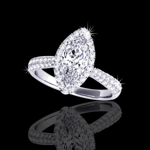 1.40 tcw Halo Marquise Engagement Ring