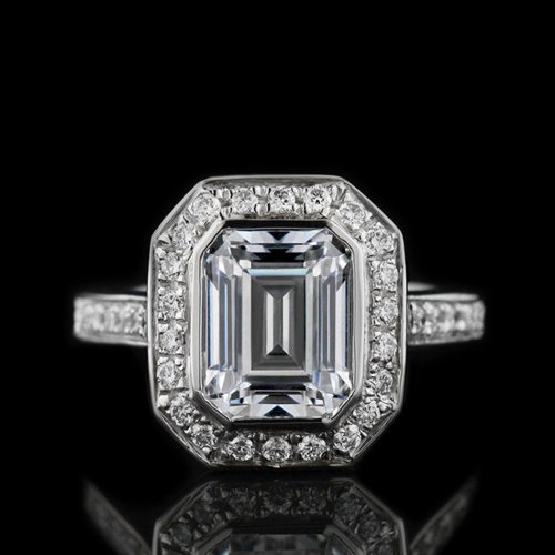 1.05 tcw Emerald Cut Halo Engagement Ring