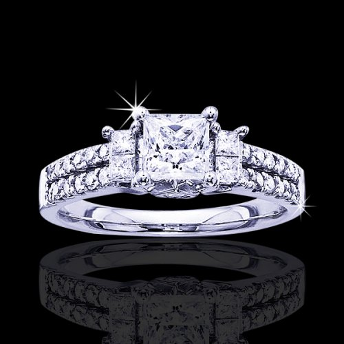 1.30 tcw Princess Cut Engagement Ring