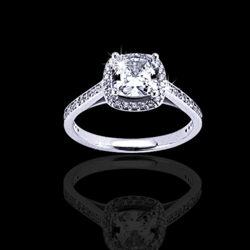 .75 tcw Cushion Cut Halo Engagement Ring