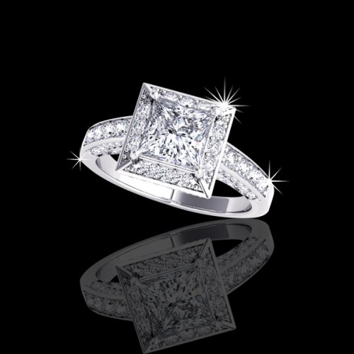 2.11 tcw Princess Halo Diamond Engagement Ring