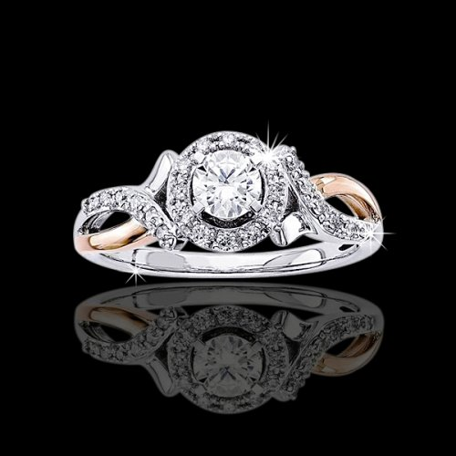.70 tcw Two Tone Halo Engagement Ring