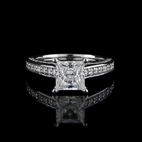 1.60 tcw Elegant Princess Cut Engagement Ring