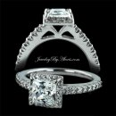 1.42 ctw Princess Cut Halo Engagement Ring