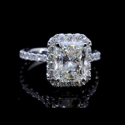 1.50 tcw Halo Radiant Cut Engagement Ring