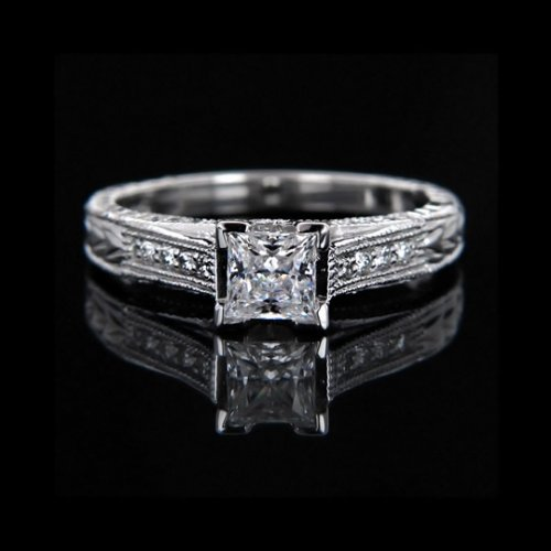 1.42 tcw Antique Style Princess Cut Engagement Ring