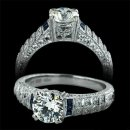 1.32 ctw Diamond & Blue Sapphire Engagement Ring