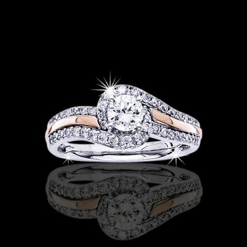 1.10 tcw Two Tone Diamond Engagement Ring