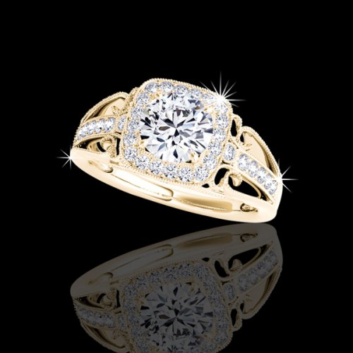 1.11 tcw Antique Style Engagement Ring