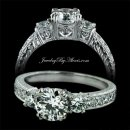1.60 tcw Three Stone Engagement Ring
