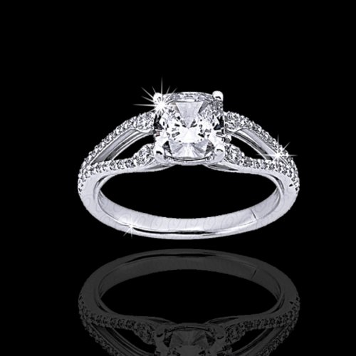 .70 tcw Cushion Cut Split Shank Engagement Ring