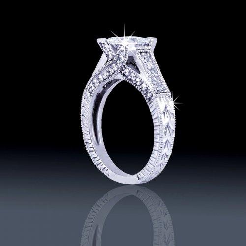 86 tcw Vintage Princess Cut Engagement Ring aenr1524 319000