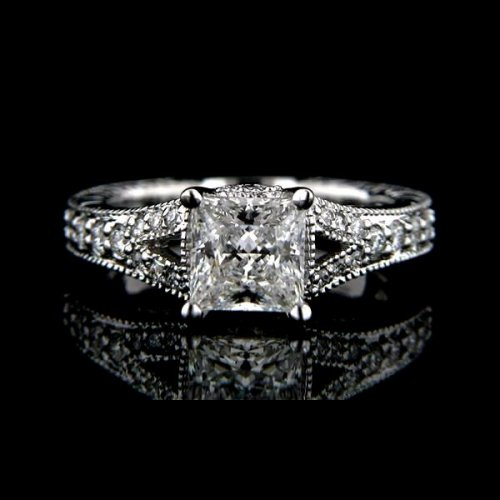 .75 tcw Princess Cut Antique Inspired Egagement Rings