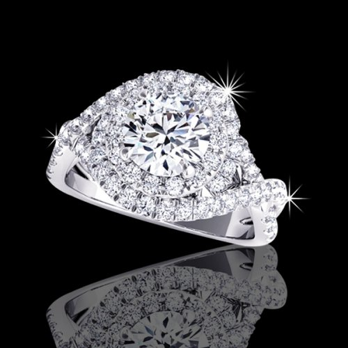 3.20 tcw Intertwined Halo Diamond Engagement Ring