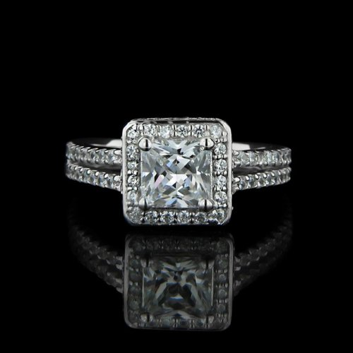 1.62 tcw Halo Princess Cut Engagement Ring