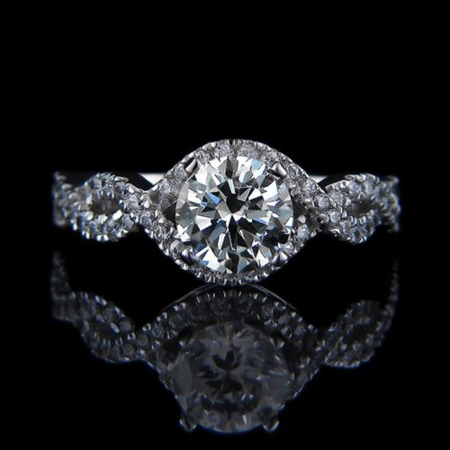 1.63 tcw Intertwined Diamond Engagement Ring