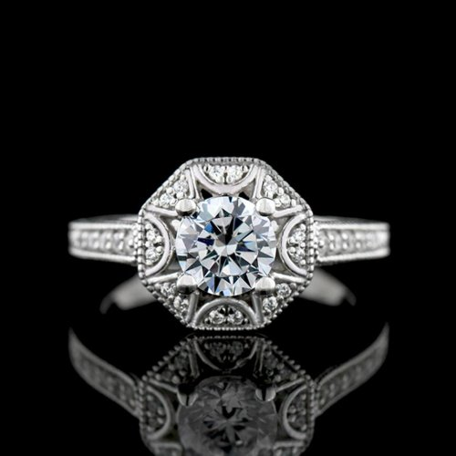 1.17 tcw Antique Style Engagement Ring