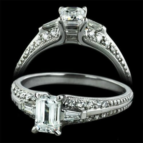 1.0 ctw Emerald Cut Engagement Ring