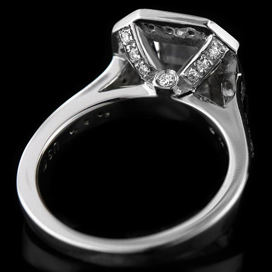 1.05 tcw Emerald Cut Halo Engagement Ring - Click Image to Close