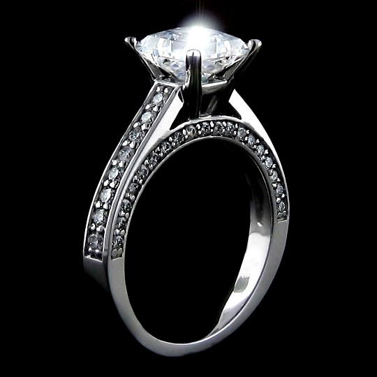 1.60 tcw Elegant Princess Cut Engagement Ring - Click Image to Close
