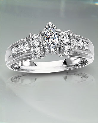 Marquise .78 tcw Diamond Engagement Ring