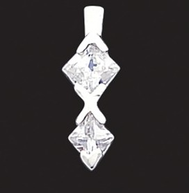 "Sterling Silver CZ Pendant with 18"" chain"